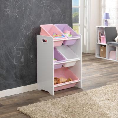 Kidkraft Pastel/White 5 Bin Storage Unittel & White