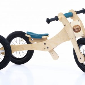 Trybike - Natural Wood 4 In 1 Balance Bike - Blue