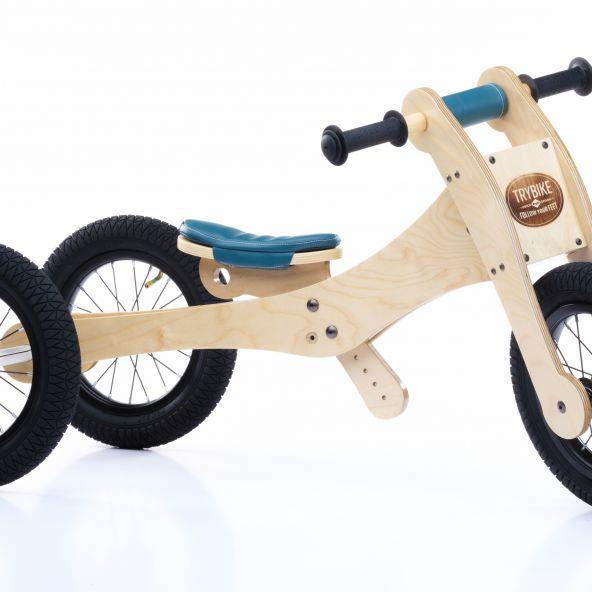 Trybike - Natural Wood 4 In 1 Balance Bike - Blue
