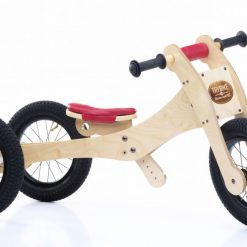 Trybike Natural Wood 4 In 1 Balance Bike Seat and Safety Pad - Red