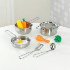 Kidkraft Deluxe Metal Cookware Set - Pots, Pans & Play Food Set