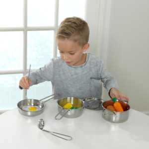 Kidkraft Deluxe Metal Cookware Set - Pots, Pans & Play Food Set2