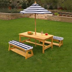 Kidkraft Outdoor Table & Bench Set with Cushions & Umbrella - Navy & White Stripes2