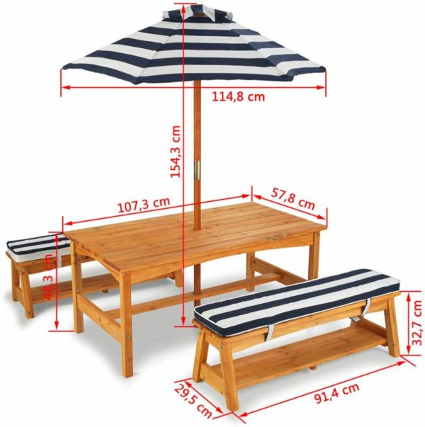 Kidkraft Outdoor Table & Bench Set with Cushions & Umbrella - Navy & White Stripes3