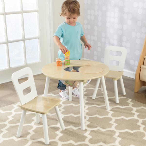 Kidkraft Round Storage Table 2 Chair Set - Natural White