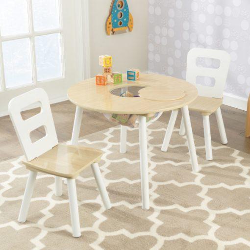 Kidkraft Round Storage Table 2 Chair Set - Natural & White