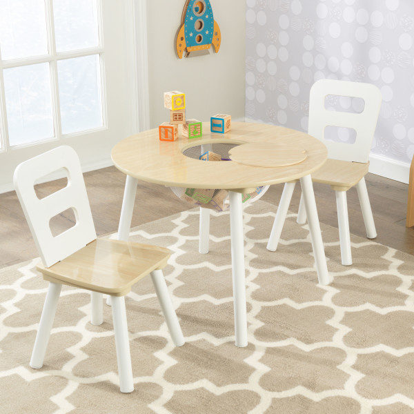 Kidkraft Round Storage Table 2 Chair Set - Natural & White