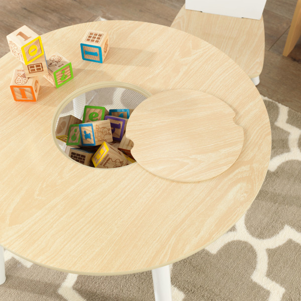 Kidkraft Round Storage Table 2 Chair Set - Natural & White.2