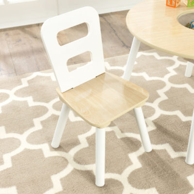 Kidkraft Round Storage Table 2 Chair Set - Natural White3