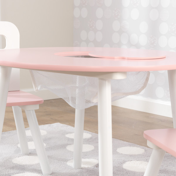 Kidkraft Round Table and 2 Chairs Set - Pink and White4