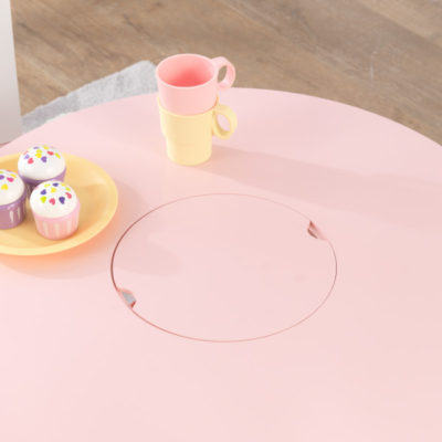 Kidkraft Round Table and 2 Chairs Set - Pink and White6