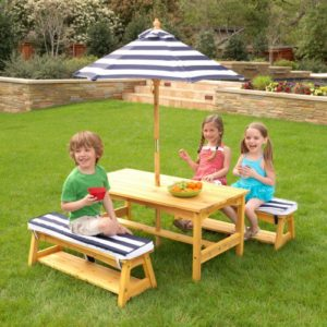 KidkraftOutdoorTable-Bench Set with Cushions & Umbrella - Navy & White Stripes