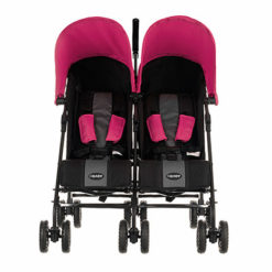 Obaby Apollo Twin Stroller - BlackGrey with Pink Hoods 2