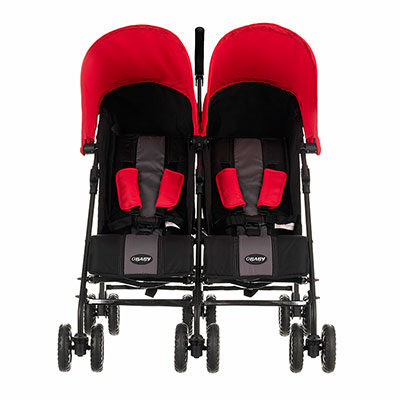 Obaby Apollo Twin Stroller - BlackGrey with Red Hoods 2