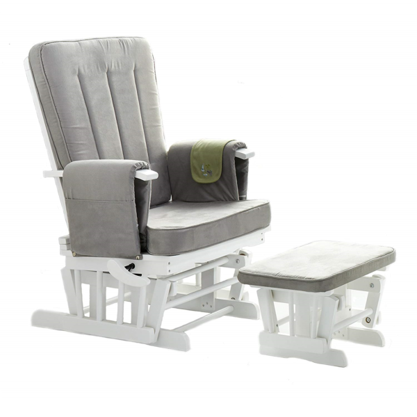 Obaby Deluxe Reclining Glider Chair and Stool - White with Grey Cushions