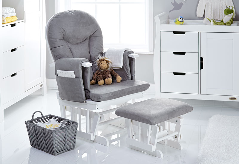 Obaby Reclining Glider Chair and Stool - White with Grey Cushions