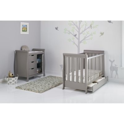 Obaby Stamford Mini Sleigh 2 Piece Room Set - Taupe Grey 2