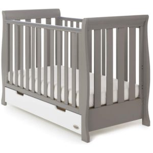 Obaby Stamford Mini Sleigh 2 Piece Room Set - Taupe Grey with White 2