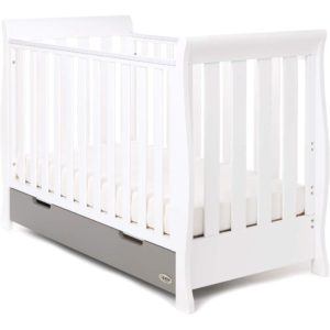 Obaby Stamford Mini Sleigh 2 Piece Room Set - White with Taupe Grey 2