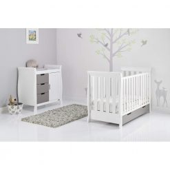 Obaby Stamford Mini Sleigh 2 Piece Room Set - White with Taupe Grey