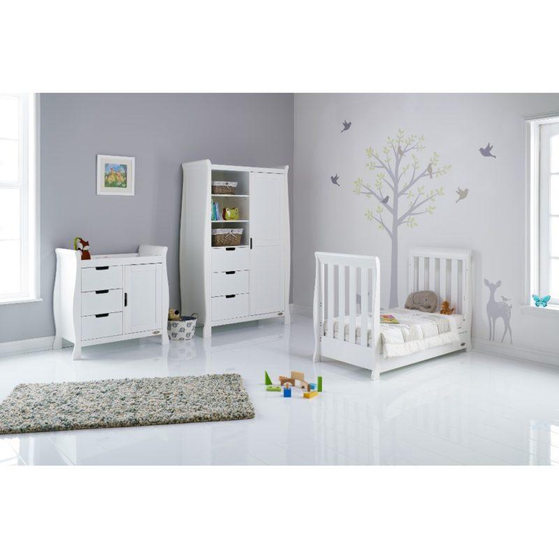Obaby Stamford Mini Sleigh 3 Piece Room Set - White 3