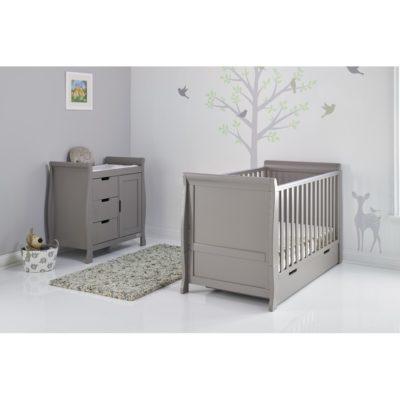 Obaby Stamford Sleigh 2 Piece Room Set - Taupe Grey