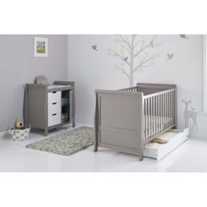 Obaby Stamford Sleigh 2 Piece Room Set - Taupe Grey with White 2
