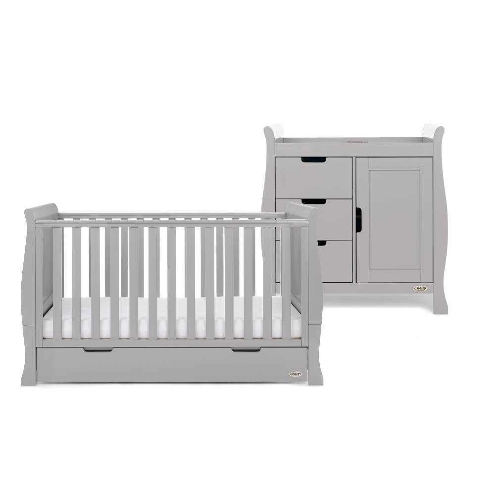Obaby STAMFORD CLASSIC SLEIGH 2 PIECE NURSERY ROOM Set Warm Grey BN