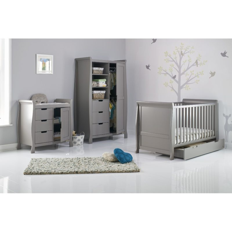 Obaby Stamford Sleigh 3 Piece Room Set - Taupe Grey 2