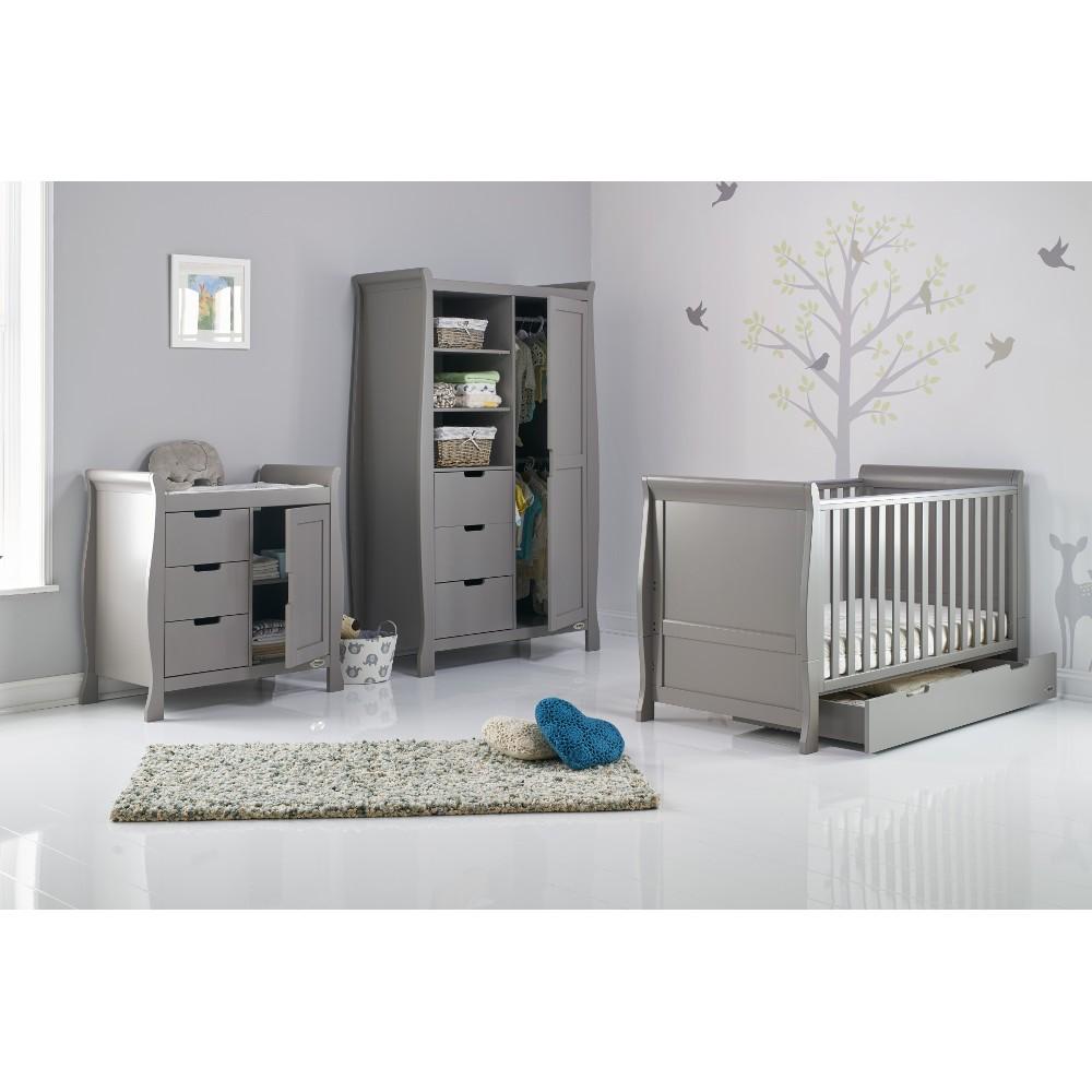 Obaby Stamford Clic Sleigh 3 Piece Nursery Room Set Taupe Grey