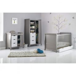 Obaby Stamford Sleigh 3 Piece Room Set - Taupe Grey with White 2