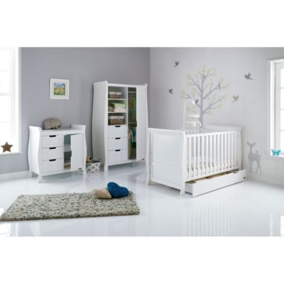 Obaby Stamford Classic Sleigh Nursery Room Set/Mattress - White