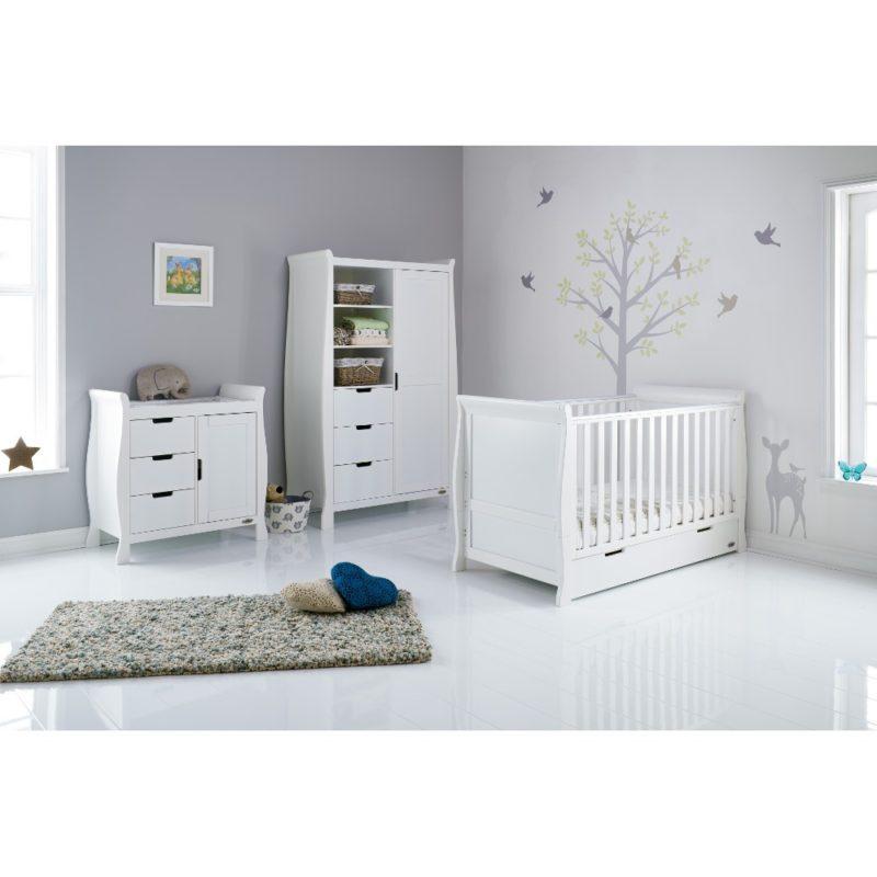 Obaby Stamford Sleigh 3 Piece Room Set - White