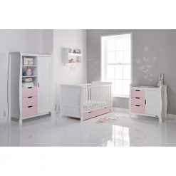 Obaby Stamford Sleigh 3 Piece Room Set - White with Eton Mess