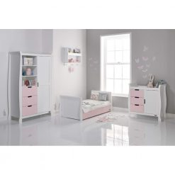 Obaby Stamford Sleigh 3 Piece Room Set - White with Eton Mess 3