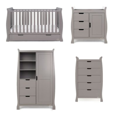 Obaby Stamford Sleigh 4 Piece Room Set - Taupe Grey