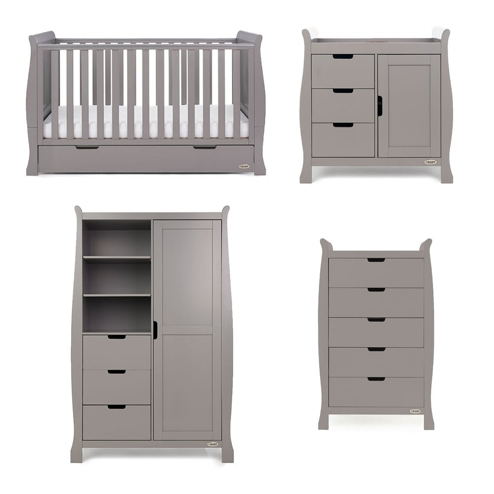 61e71c4a54ee Obaby Stamford Classic Sleigh 4 Piece Nursery Room Set - Taupe Grey ...