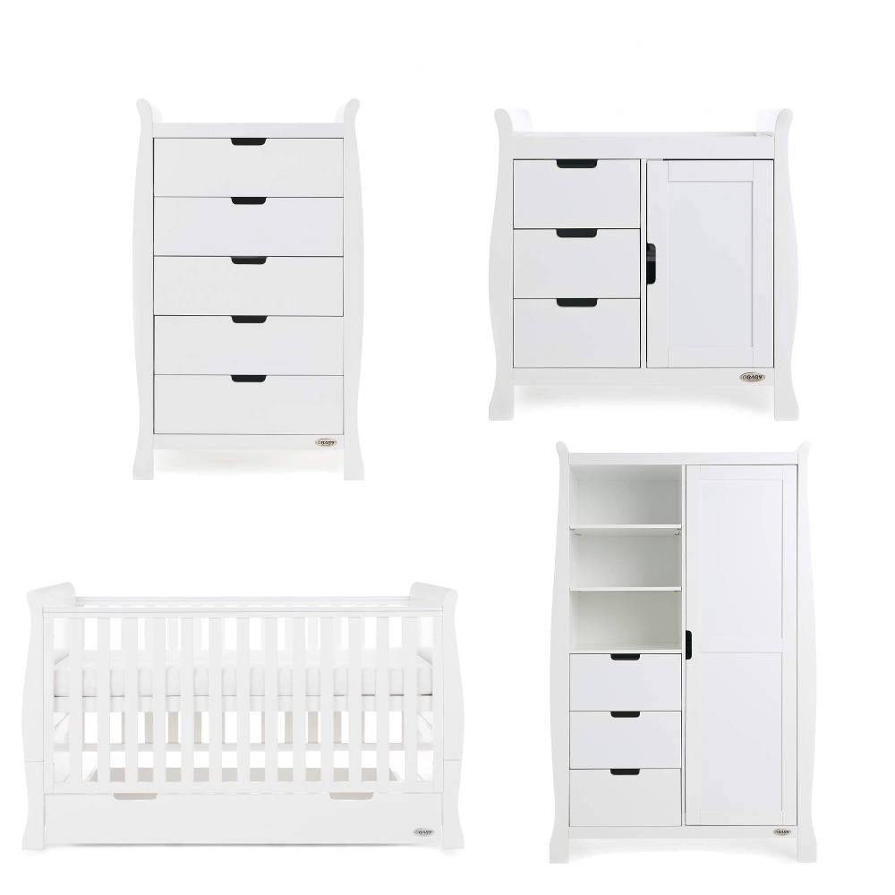 71e039f027d2 Obaby Stamford Classic Sleigh 4 Piece Room Set - White - Baby and ...