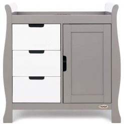 Obaby Stamford Sleigh Changing Unit - Taupe Grey with White