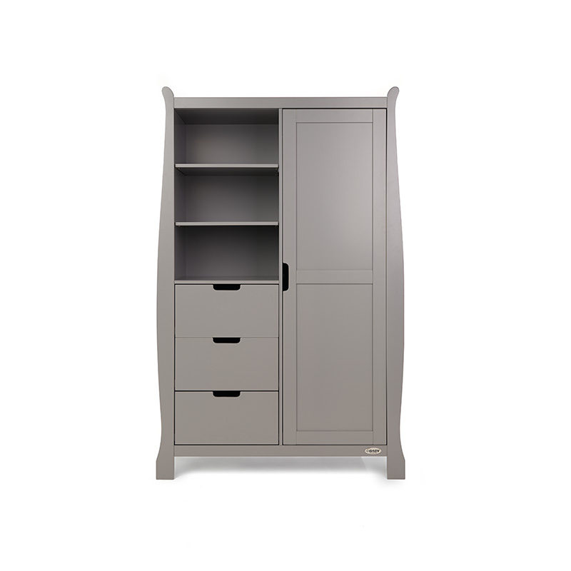Obaby Stamford Sleigh Double Wardrobe - Taupe Grey