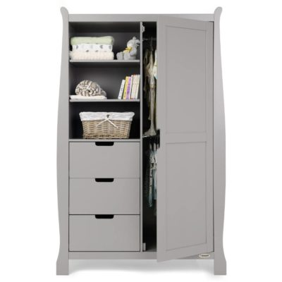 Obaby Stamford Sleigh Double Wardrobe - Warm Grey 2