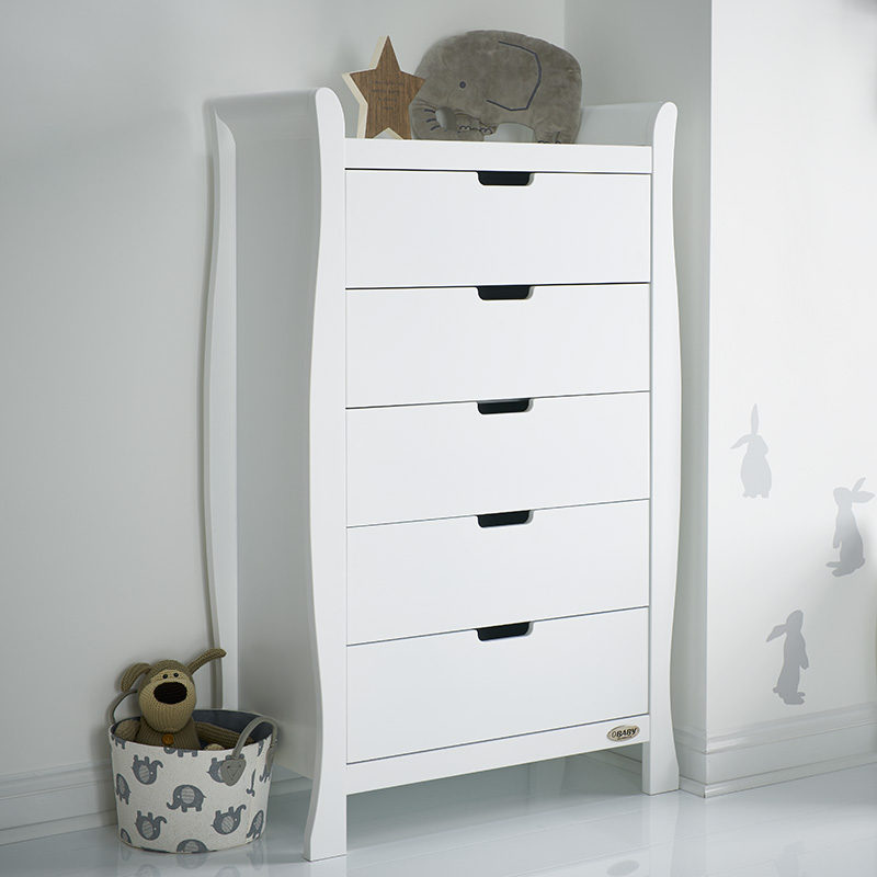 Obaby Stamford Sleigh Tall Chest of Drawers - White