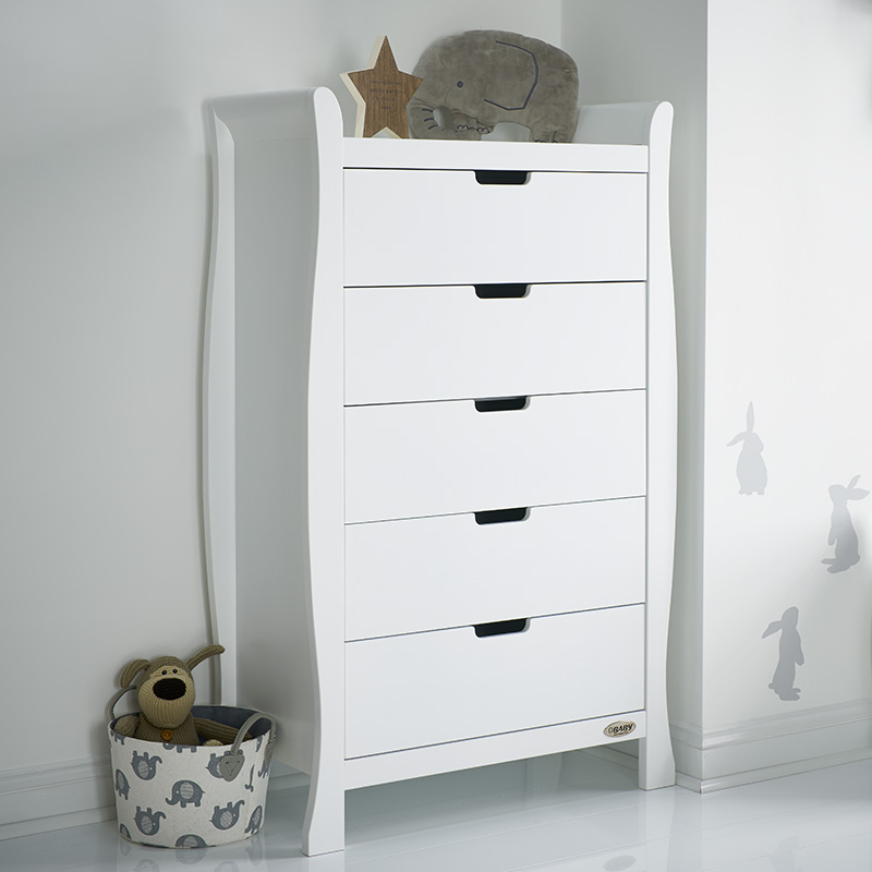 b1874de9f11b Obaby Stamford Sleigh Tall Chest of Drawers - White - Baby and Child ...
