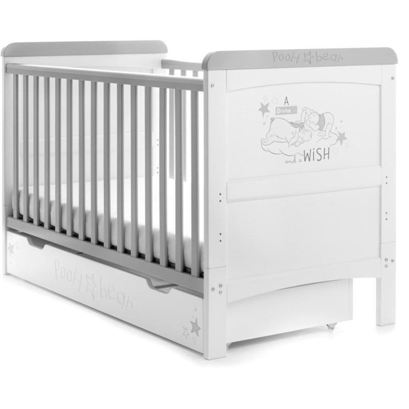 Obaby Winnie the Pooh Deluxe Cot Bed and Underdrawer - Dreams and Wishes
