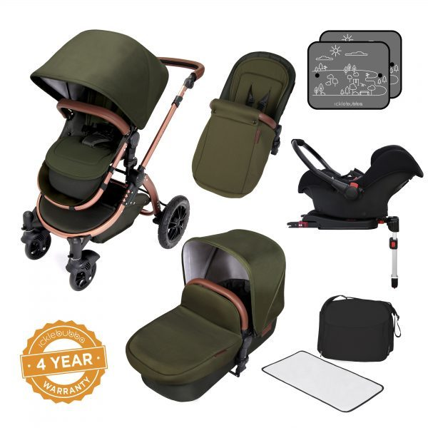ickle bubba V4 stomp all in one travel system woodland bronze
