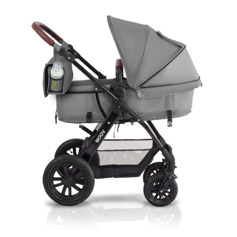 kinderkraft 3 in 1 moov travel system pram side on grey