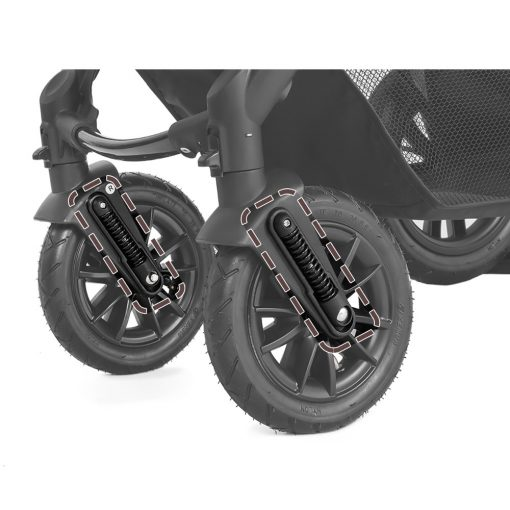 kinderkraft moov 3 in 1 travel system grey close up of wheels
