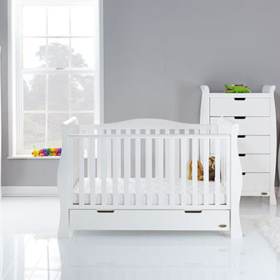 obaby stamford luxe 4 piece nursery room set in white