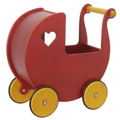 Moover Dolls Pram Red – Birch Veneer