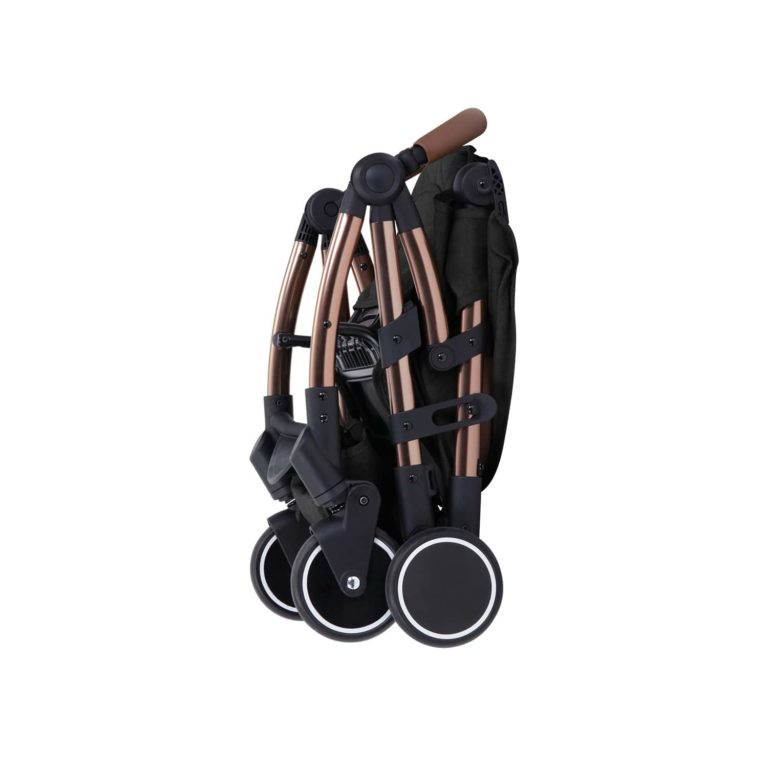 ickle bubba globe max black on rose gold stroller folded